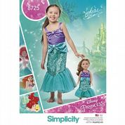 "8725 Simplicity Pattern: Child's and 18"" Doll Costumes - Disney Princess"